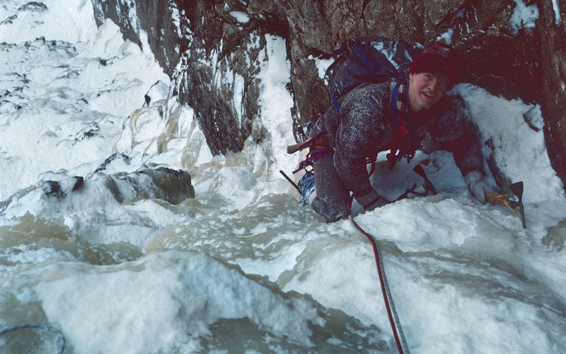 The 'Phez' (Jeff Pheasant) at the top of the 2nd pitch - late winter 1976.