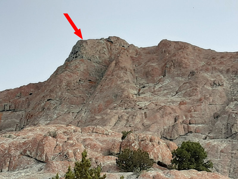 View from the road (zoomed in) - arrow pointing to the top of P3