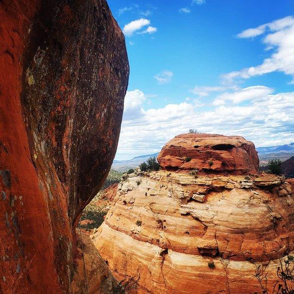 The traverse to the cactus ledge via wishbone variation.