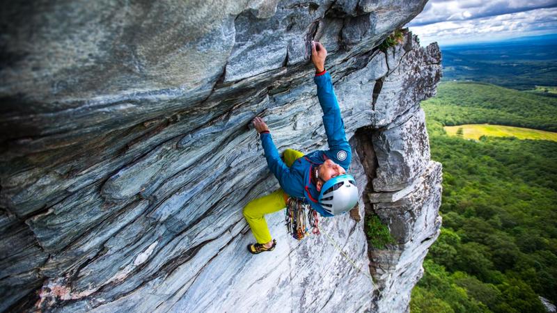 "Karsten Delap  pulling the ""new"" roof. Rock scar pictured."