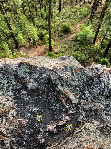 Be warned: bolts at the top are above the lip of the rock. Bring a rope mat or extended anchor to avoid rope drag when TRing.