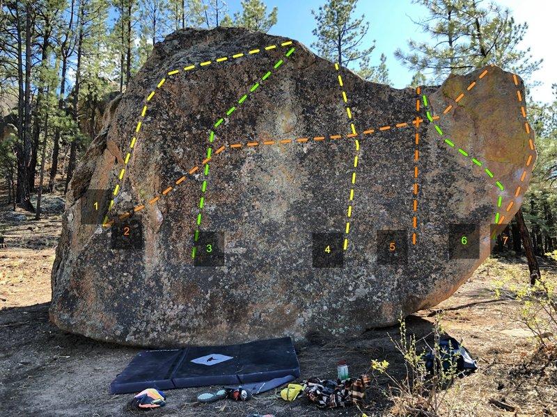 East side of Dark Star Boulder<br> 1) Unnamed V3+<br> 2) Hole in my Black Heart V2<br> 3) Unnamed V2<br> 4) Unnamed V1<br> 5) Unnamed v0<br> 6) Thin Green Line (Least Resistance) V4<br> 7) Thin Green Line V6