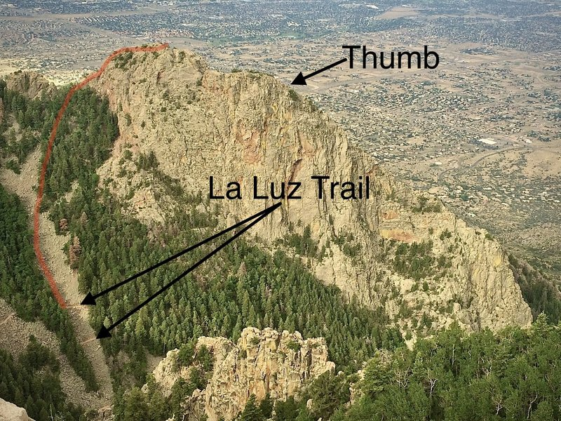 The red line indicates a fairly direct approach, showing where we headed up from the La Luz Trail. Options abound according to preference here as paths of ascent may tend to favor an approach through the trees or straight up the open boulder field.