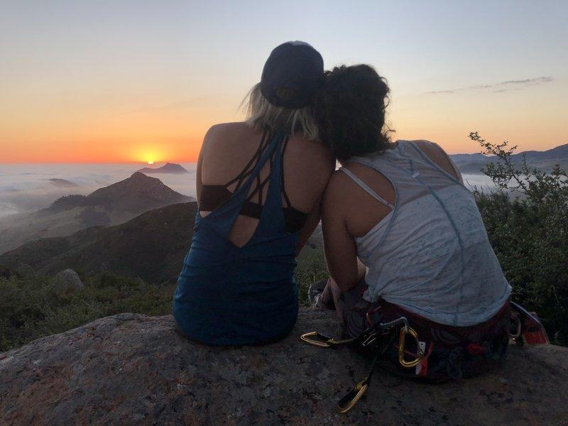 A spring sunset on the summit blocks