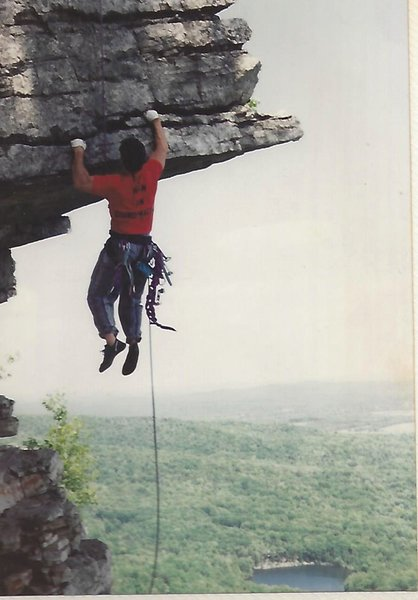 My shirt says  HIGH ON CHIROPRACTIC. Was going to use it in an ad but could not see the writing well. Taken on The Dangler in the Gunks.