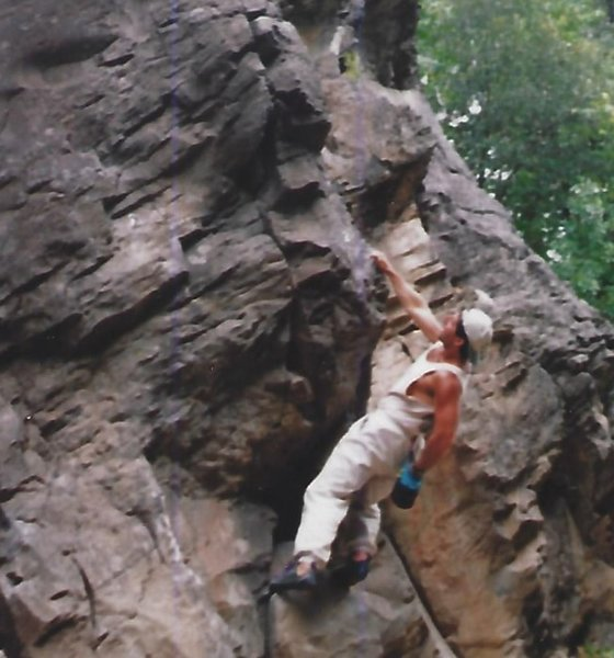 Bouldering along a cliff band on the Sacrament River just west of Mount Shasta California