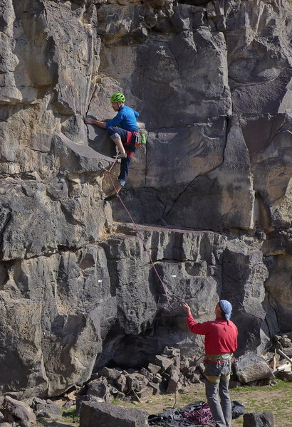 Eric Bluemn on the sharp end; Vernon Phinney belaying, Mar 2020