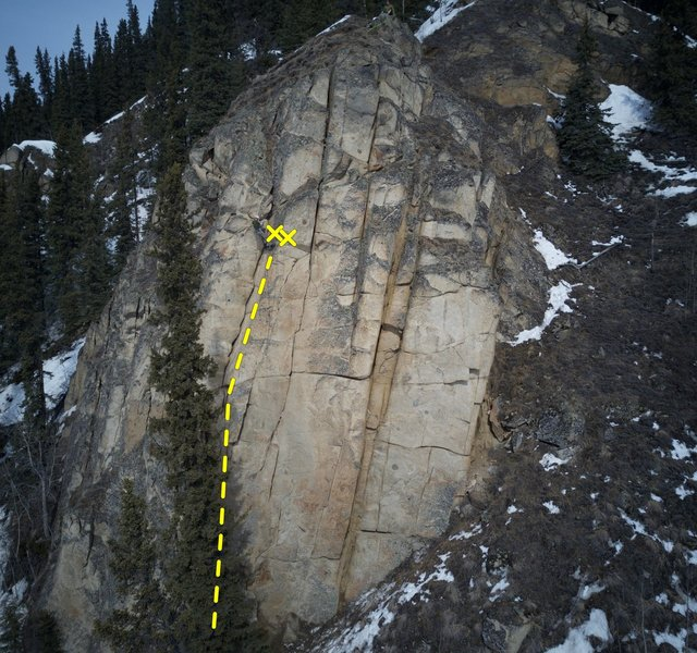Leftmost crack with Jonathan at location of anchor.