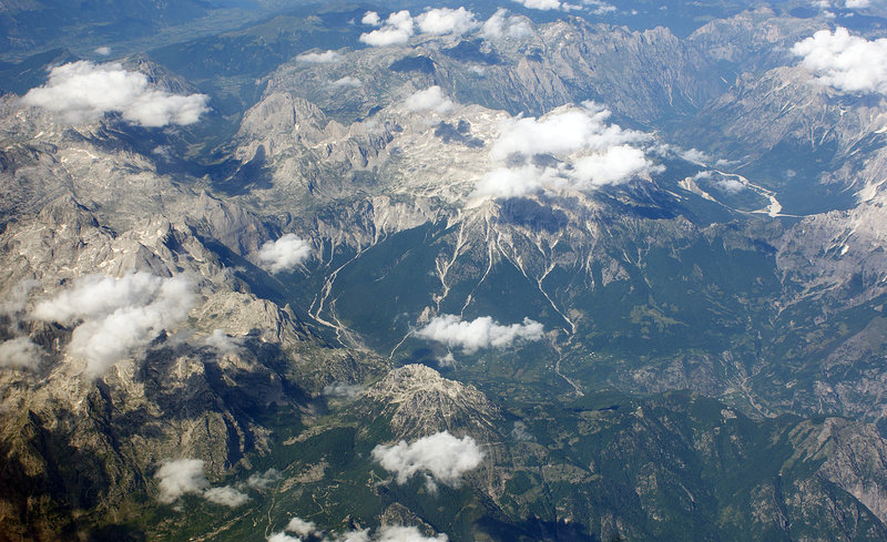 Albanian Alps from the air