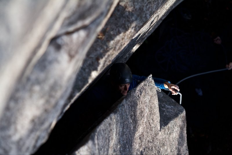 jeff ranish on one of his brilliant new routes at index!  photo by bissell hazen