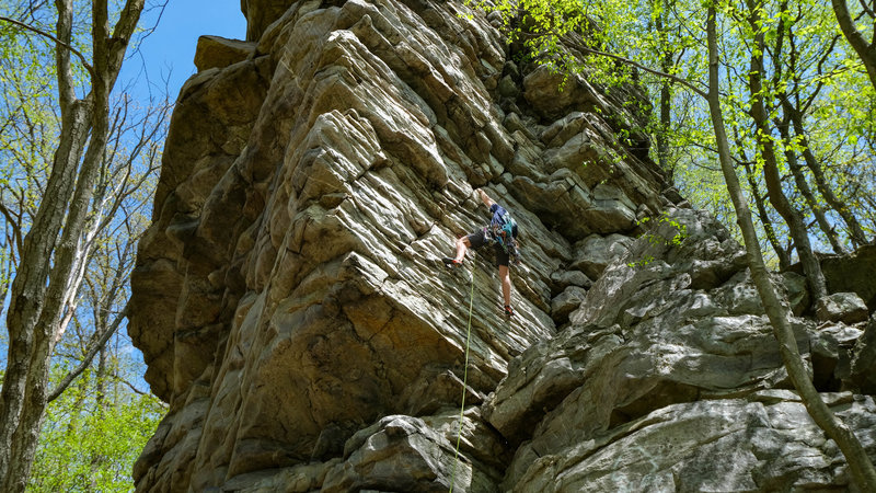 Emil taking a 5.8 line of Wall of Wander