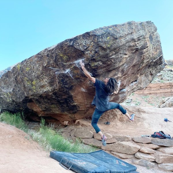Miles Perry doing the crux move