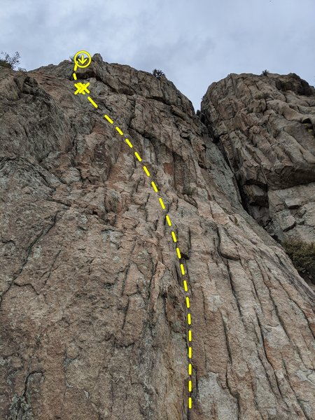 Trend left as you move up the low angle wave.  Sweet belay ledge with plaque.  Follow obvious crack just left of roof feature above belay ledge.