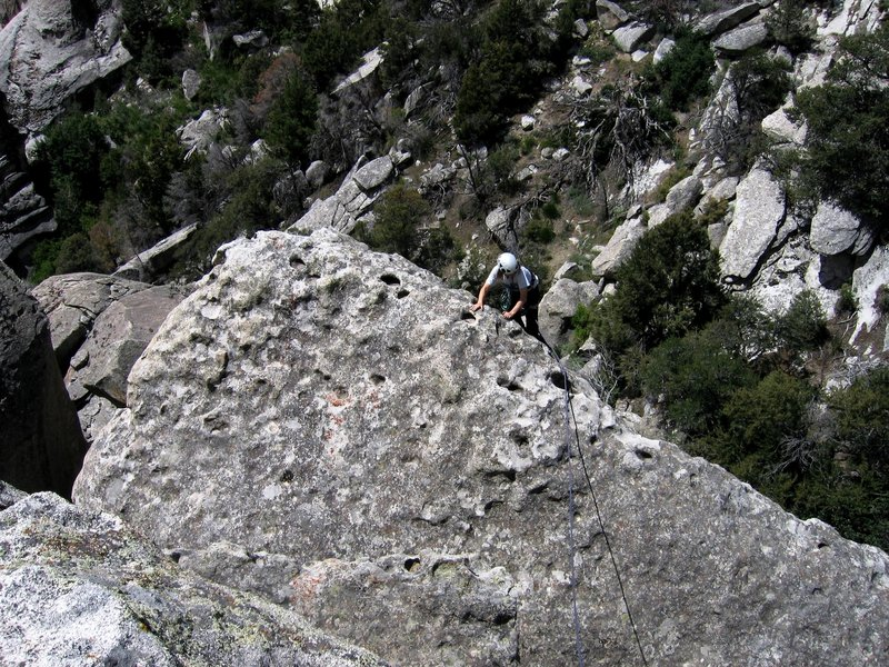 Patty Black topping out the leaning rock formation on Leapin' Leaner - 13 June 2004