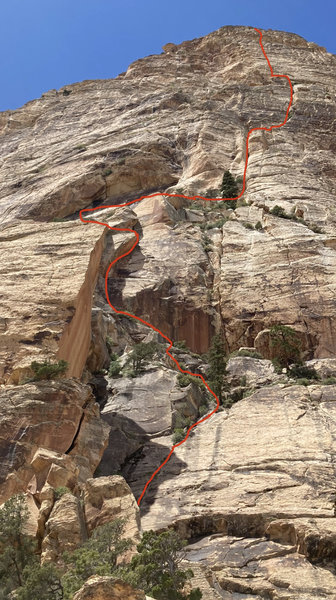 Upper part of the route in detail