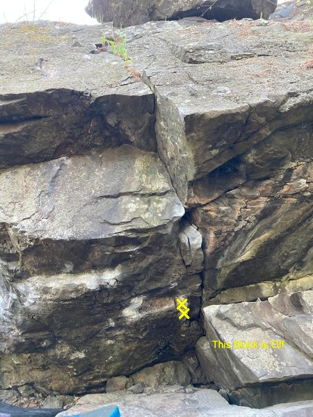 """Cave Crack: Start Matched on """"jug"""". Low block on right is off."""