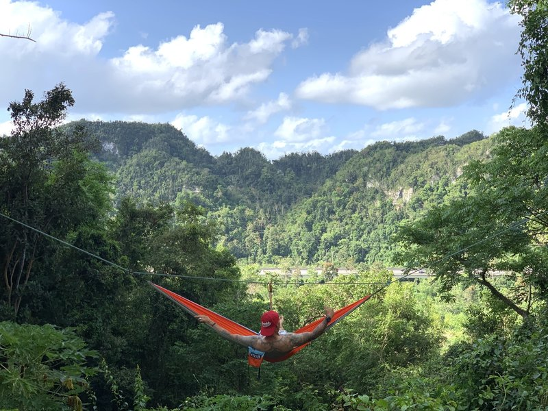 What a view!, hammock anchored in opposite rock walls in Roca Norte