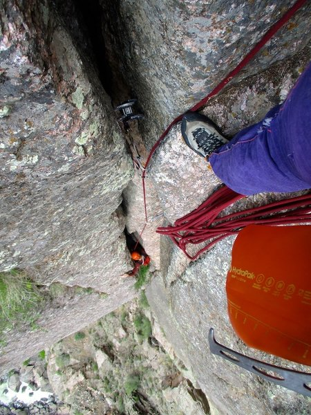 Looking down from the belay at the top of pitch 2. A #5 was nice to have for the final wide section.