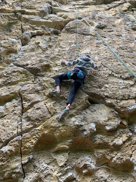 This is a picture taken of a person at the beginning of the crux.