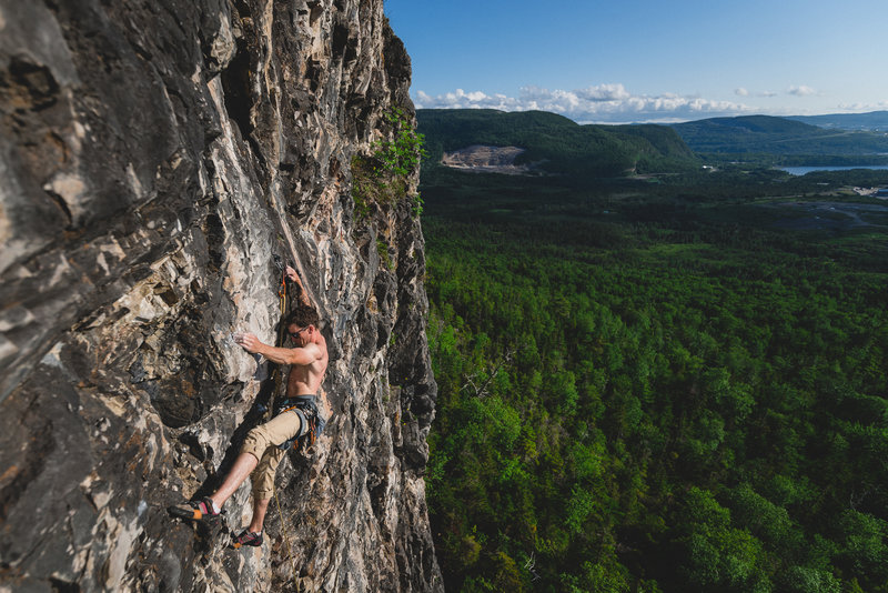 "Jordan Fewer on the first ascent of ""Distinguished Gentlemen 5.10c"""