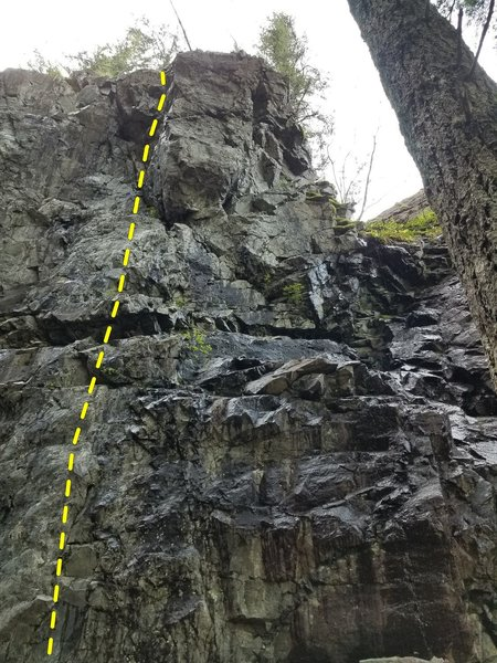 Namby-Pamby follows the topo up the left side of the overhanging pillar.
