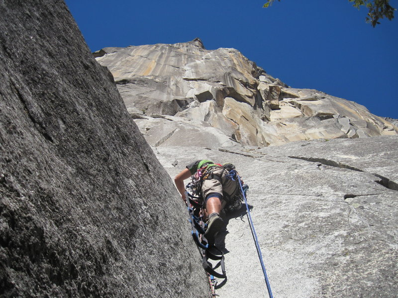 Mike Nicholson leading (p1) on the Prow.  (Oct 2012)