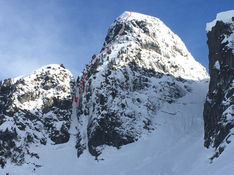 Dotted line: rappel from the notch. Solid line: route up the northwest ridge to summit