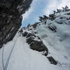 Rappel from the left, climb up the awesome alpine ice on the right