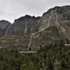Routes as seen on approach (Western Hardman encountered first). Upper north face of Notch Peak in the background, with upper reaches of La Fin du Monde and Book of Saturdays visible. Route topo lines are very approximate.