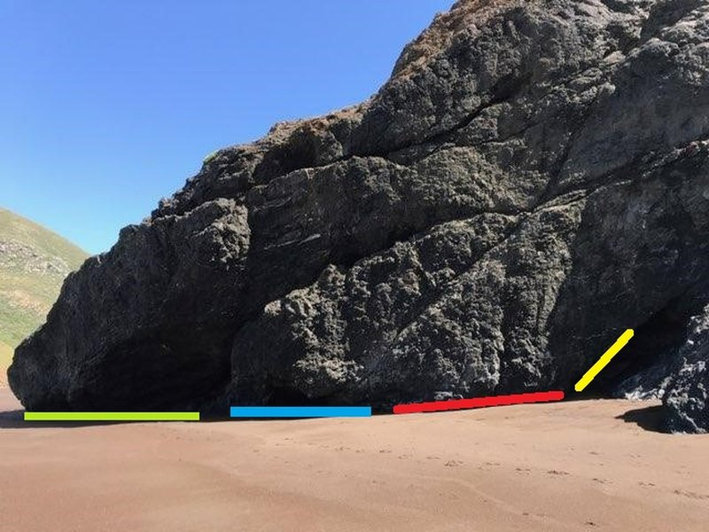 Most of the bouldering at Tennessee valley beach. 3-4 climbs on the green area. 2-3 smaller overhangs at blue, Red has a mix of v0 - v3 traverses and yellow is a fun v7? with a very chossy topout