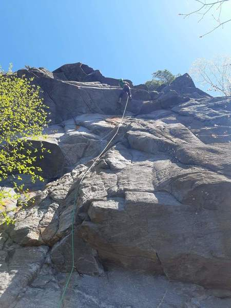 Pulling the roof on 5.11b Warm Up