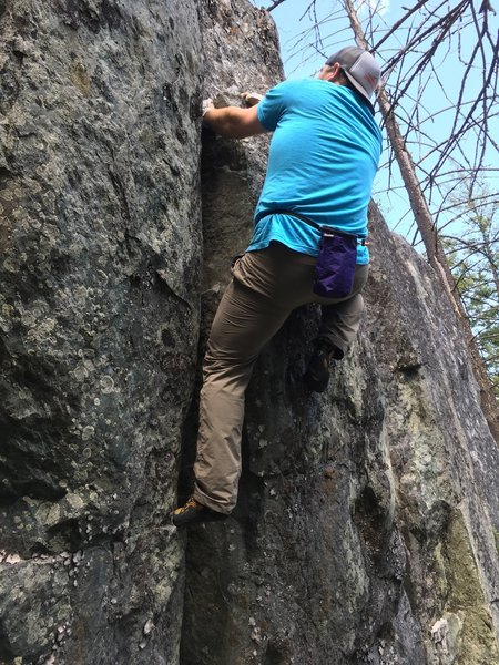 DPS finding the jug after the jams.. This is a rare sighting finding David climbing short rocks without a rope and rack.