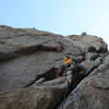 the gazelle cruising the trad part of the route, awesome jams and generally fun and well protected climbing