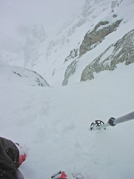 dec 22, 2004 looking down the choke on the east face of teewinot climb and ski with mason cassidy and chris figenshau photo bissell hazen