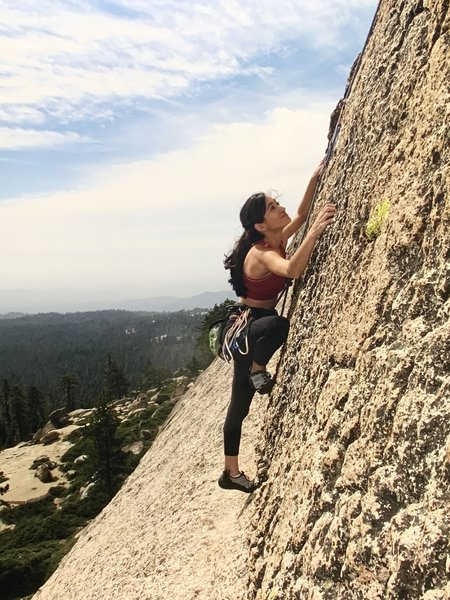 Monica Gomez on the upper headwall during the first ascent.
