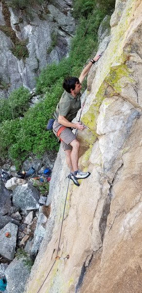 Joe Silver at the crux of the route.
