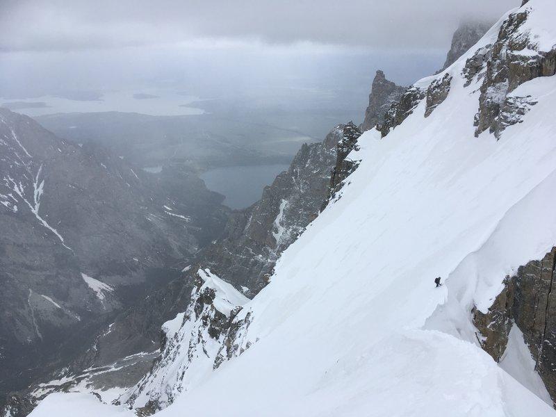 Descending the Koven Couloir into Glacier Gulch