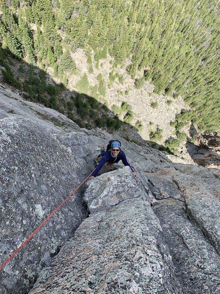 Jeff following P4. Great crack climbing!