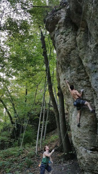 First 5.12.  Max with the super belay (2017)