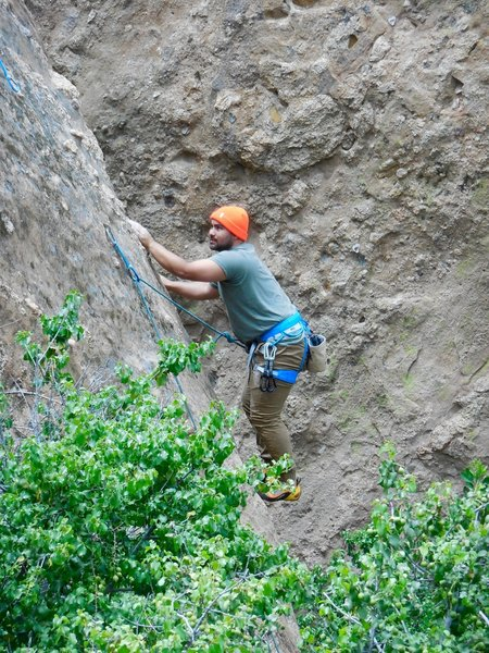 Getting acquainted to slab climbing at Texas Canyon.