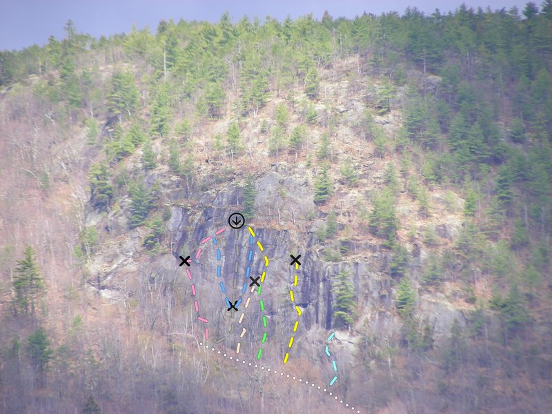 Bear Cub cliff as seen from highway  above the tumbledown dick climbing area in Gilead.