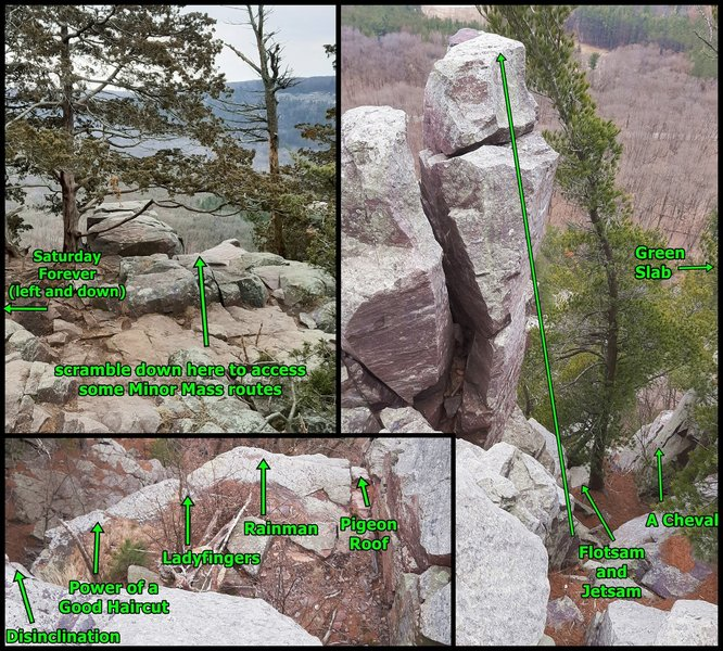 Go 25' SE from the top of Devil's Doorway Trail (east end) to see the view in the upper left frame. Scramble 15' down from here to a ledge where the other 2 views can be seen. Access to A Cheval and Green Slab is easier from a different direction, though.