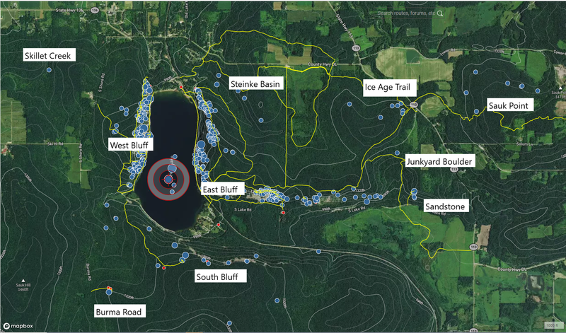 An overview of Devils Lake Bouldering Areas