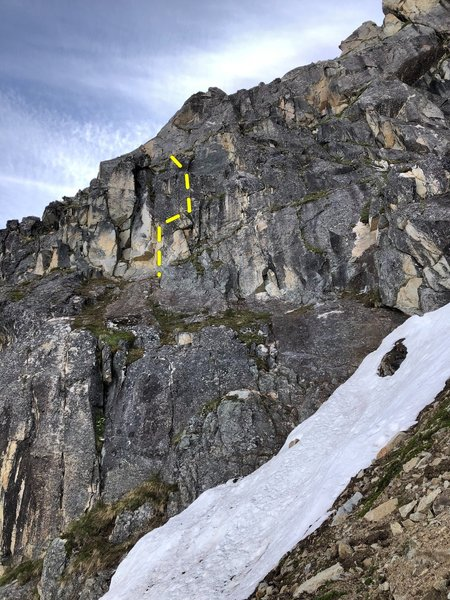 Route starts up a pitch.  More potential for new routes or continuation of this route above it.