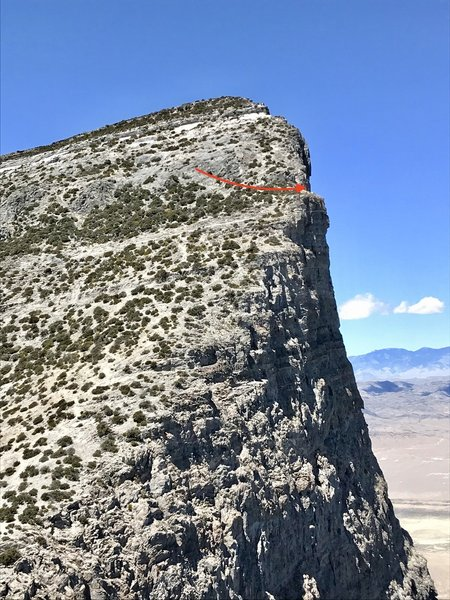 Location of BOS rappels,  if you are unfamiliar with that descent route.  There is a short fixed line to reach the anchors