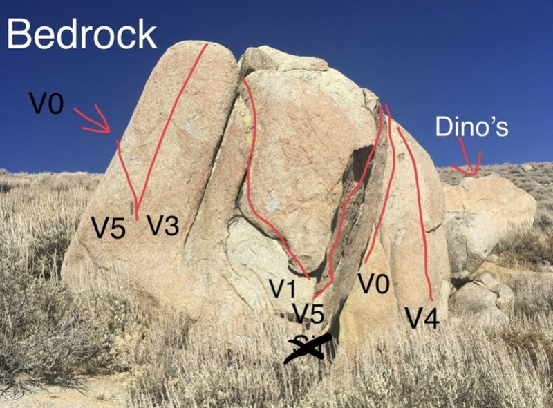 Bedrock right (Original start hold for Pebbles and Yabadabadoo came off. Sit is much harder now.)