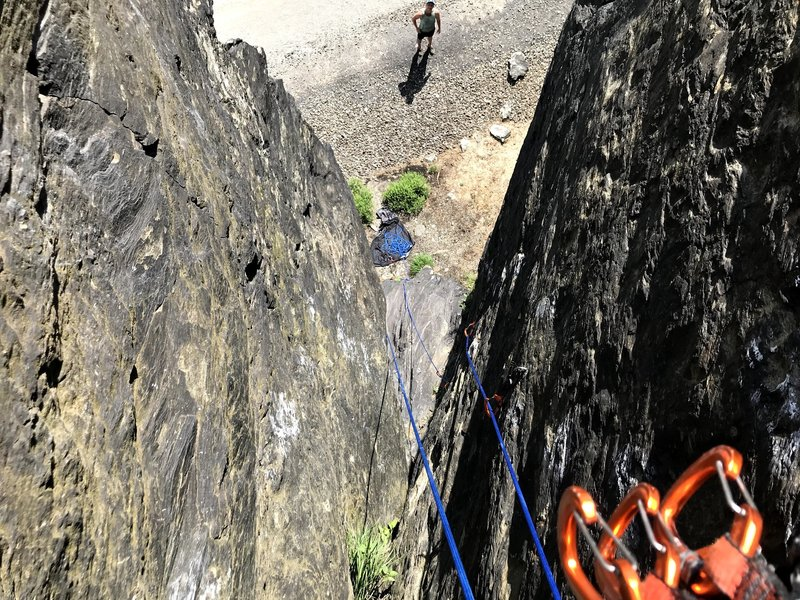 Looking down on rappel from the chimney