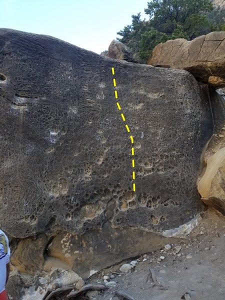 Climb the slab on the right.