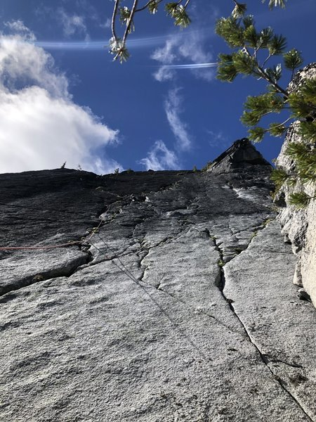 We took the route to the left with better belay stations