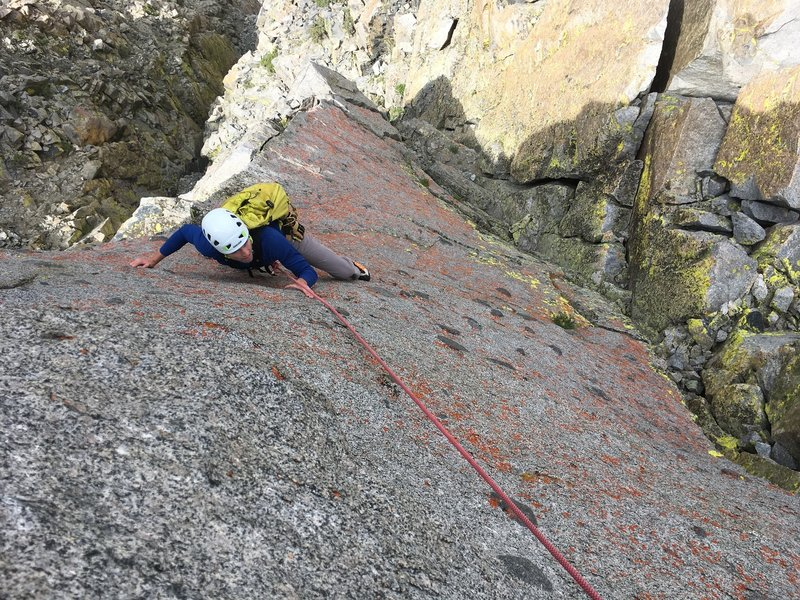 Richard sending a cool knobby face near the end of the route. Clever rope work (or running it out) will let your follower climb this.